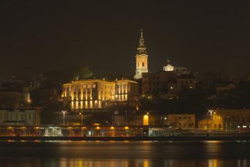 Belgrade at night from the river Sava.