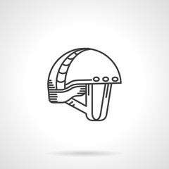 Black line vector icon for mountaineering helmet