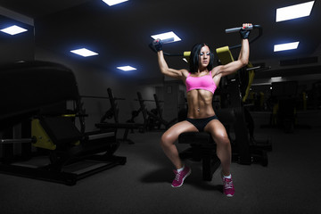 Sexy athlete Brunette woman lifts in the gym