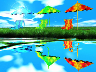 umbrellas and water