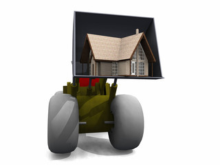 bulldozer and house