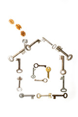 The keys are put in form of house on a white background