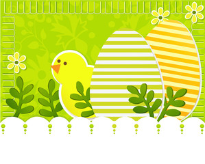 Easter background with chicken and eggs
