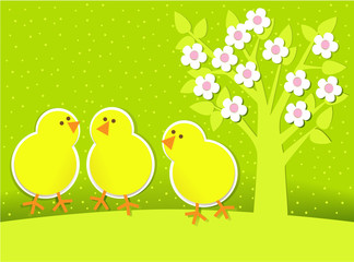 Easter background with chickens and spring tree