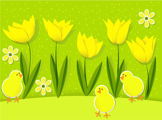 Easter background with chickens and tulips