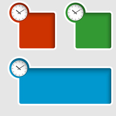 set of three text boxes with watches