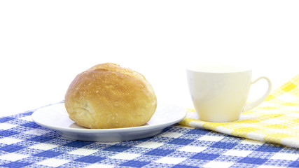 white Bread with cup of coffee breakfast on table mat