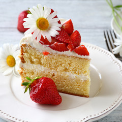 Tasty piece of summer cake