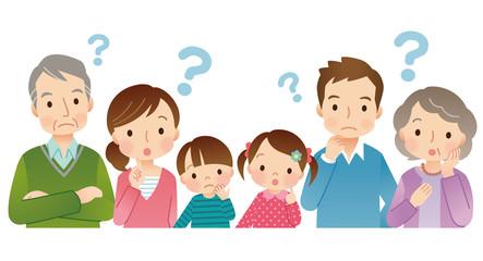 疑問 3世代家族 6人 上半身