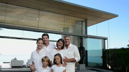 Three generation family at home