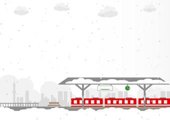 駅 電車 雪