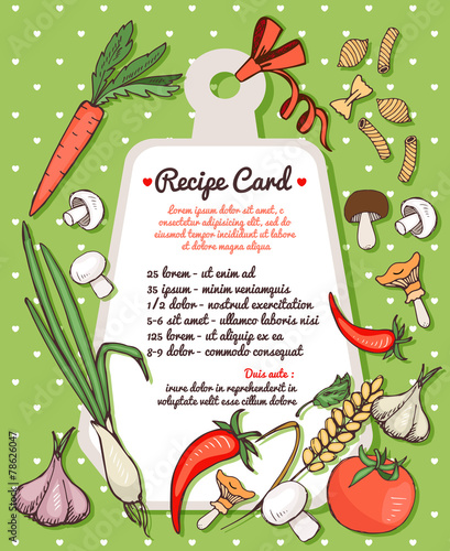 Recipe card with fresh vegetables and pasta - 78626047
