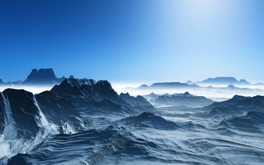 3D surreal landscape with snowy mountains