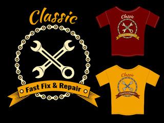 Vector Fix and Repair T-Shirt Template Design