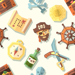 Seamless pattern with pirate icons. Vector illustration.