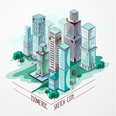Isometric Sketch City Colored