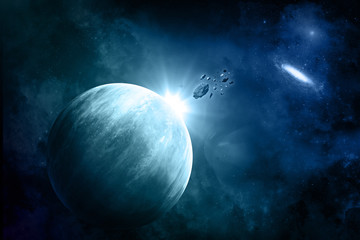 Fictional space background with meteorites
