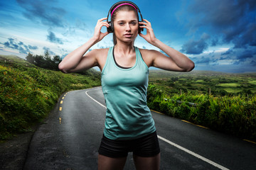 Female Runner with Headphones