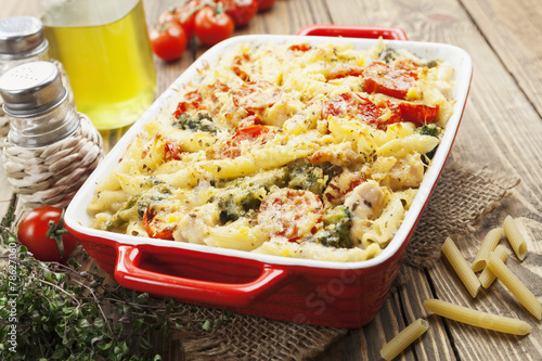 canvas print picture Casserole pasta with chicken and broccoli