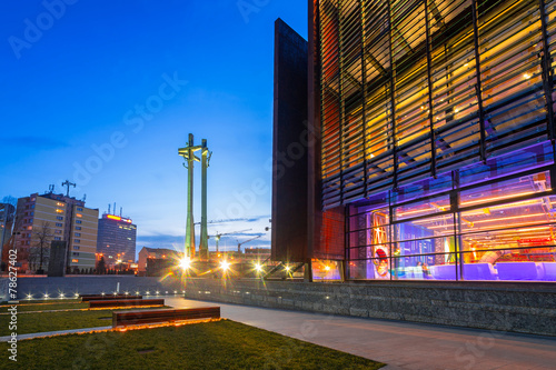 European Solidarity square with cross monument in Gdansk - 78627402