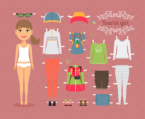 Tourist Girl Paper Doll with Clothes and Shoes