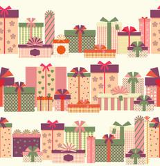 Gift boxes seamless horizontal border pattern
