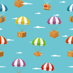 Delivery seamless background with gift boxes on parachutes
