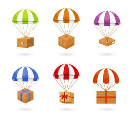 Set of Colorful Parachute Carrying Boxes