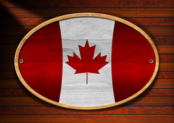 Oval Wooden Canadian Flag