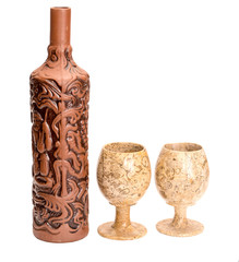 Clay bottle and two glasses for wine