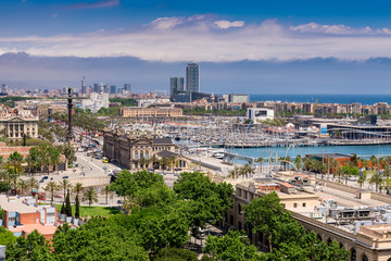 Aerial view of Port  in Barcelona, Spain