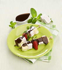 Sweet Fruit Skewers with marshmallow