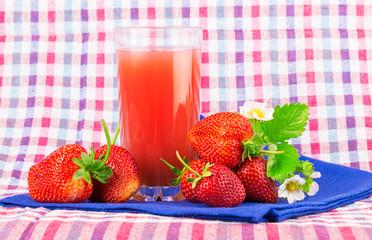 strawberry juice checkered napkin