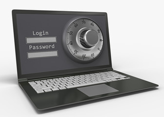 Laptop with steel security lock