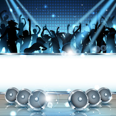 Music Background with silhouettes and speakers - Vector