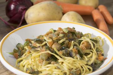 tagliolini at the vegetable ragout