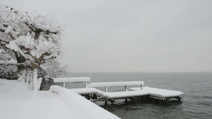 Snow covered pontoon