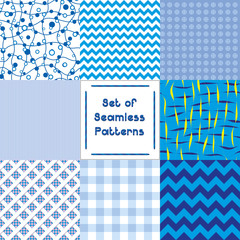 Set of abstract seamless backgrounds with blue pattern