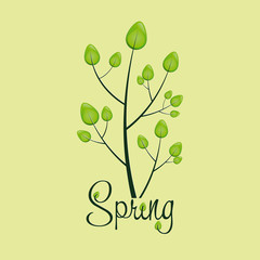 Tree made from leaves, spring background, vector illustration