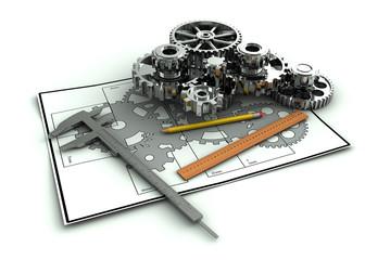 Gear, trammel, pencil on Engineering drawing.