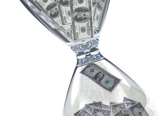 Time is money Hourglass and dollar