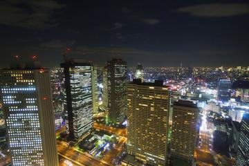 大都会東京イメージ 新宿高層ビル街から望む東京全景 東京スカイツリーも望む