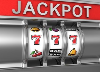 3d illustrations of slot machine win line and prize, gamble mach