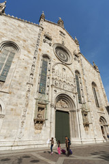 facade of Cathedral in Como city, Lombardy, Italy