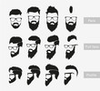 hairstyles with a beard in the face, full face and profile - 78630254