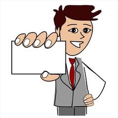 Mann Man Dozent Businessman Card Blank Cartoon Visitenkarte