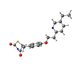 Pioglitazone molecule isolated on white
