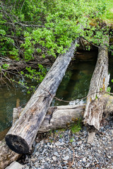 old broken timbered bridge through river