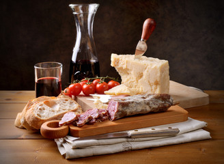 Salami, parmigiano and red wine