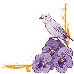 border with  violet pansies and bird